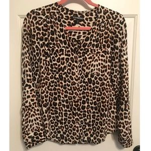 Express Leopard Button Down Blouse